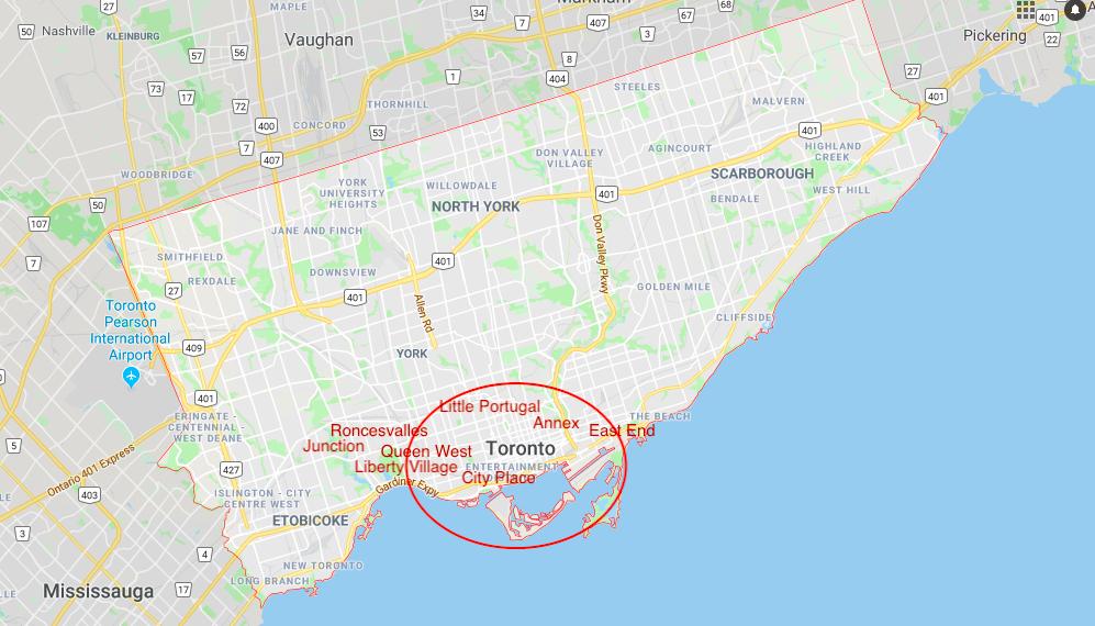 Toronto Stadtkarte Districts