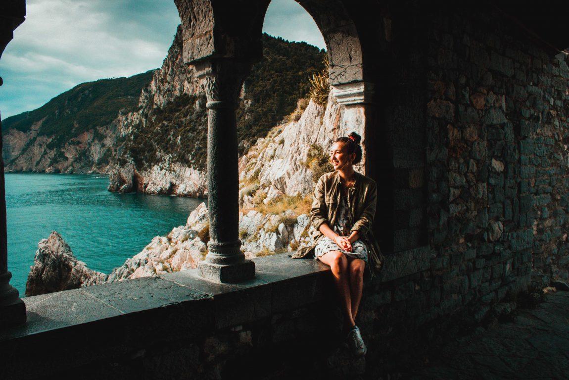 Porto Venere, Italien, Frau in der Burg